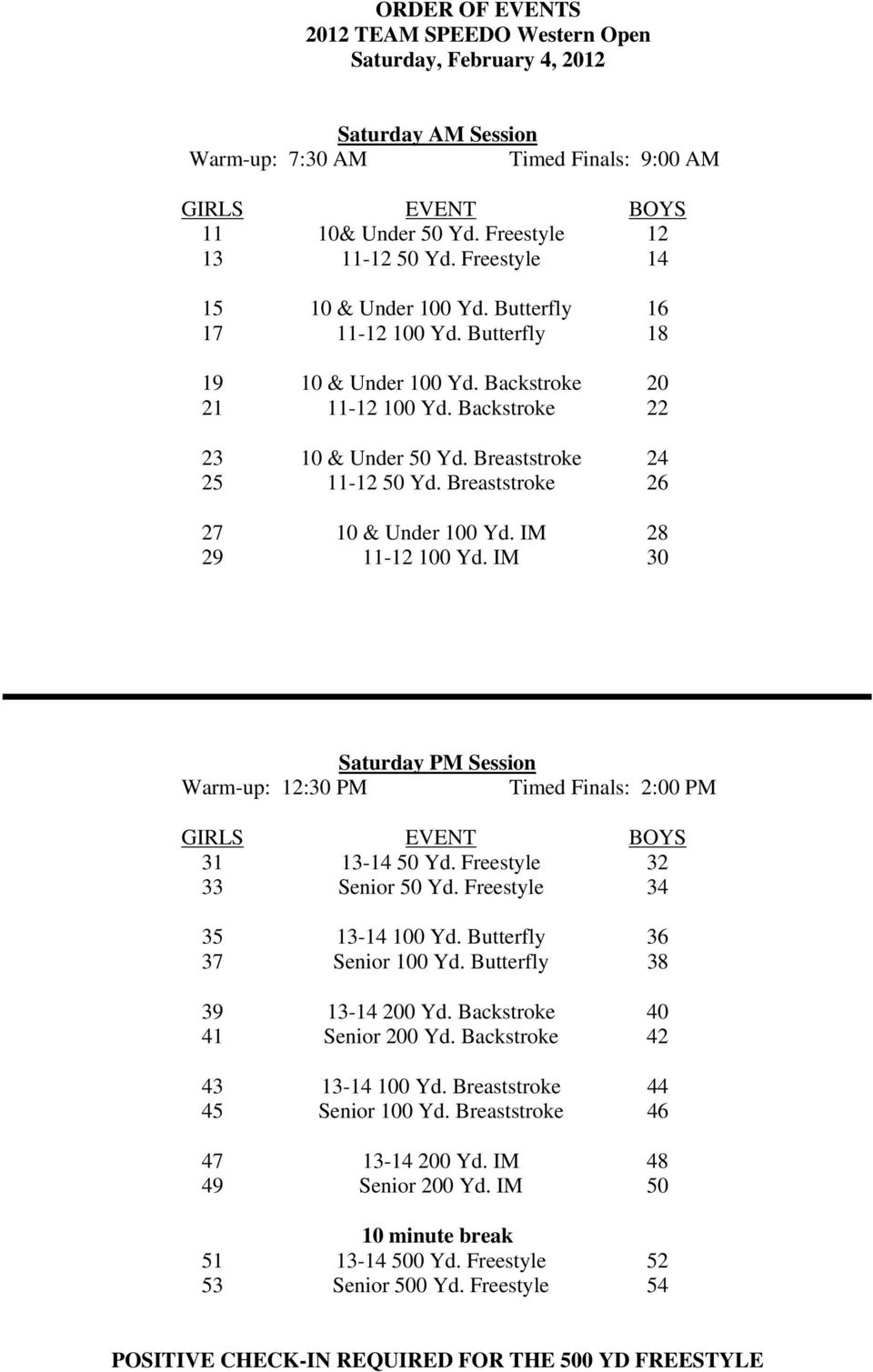Breaststroke 26 27 10 & Under 100 Yd. IM 28 29 11-12 100 Yd. IM 30 Saturday PM Session Warm-up: 12:30 PM Timed Finals: 2:00 PM 31 13-14 50 Yd. Freestyle 32 33 Senior 50 Yd.