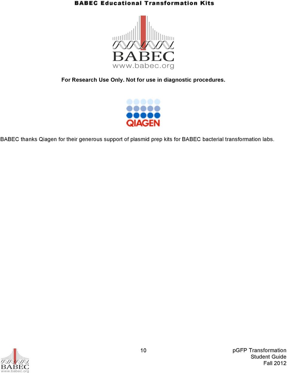 BABEC thanks Qiagen for their generous support of
