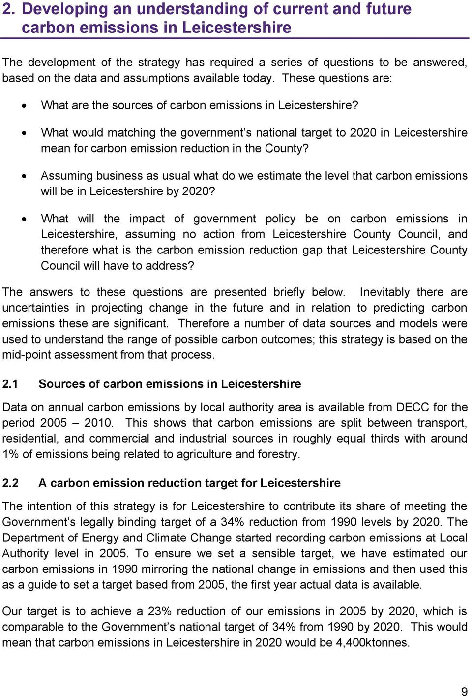 What would matching the government s national target to 2020 in Leicestershire mean for carbon emission reduction in the County?