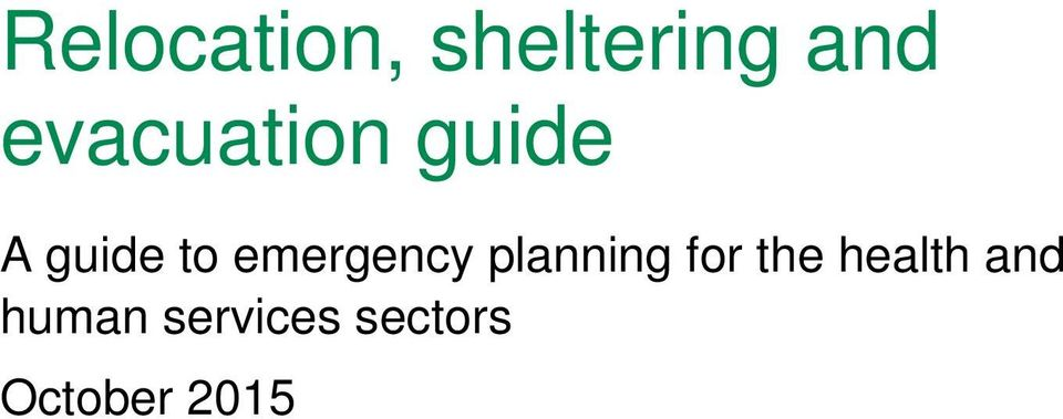 emergency planning for the