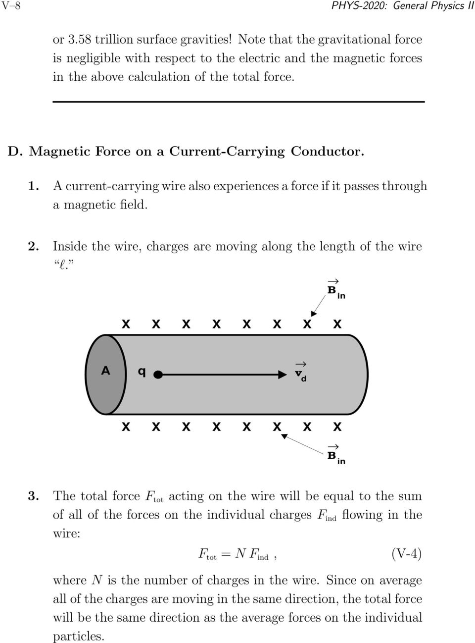 A current-carrying wire also experiences a force if it passes through a magnetic field. 2. Inside the wire, charges are moving along the length of the wire l. in A q v d in 3.