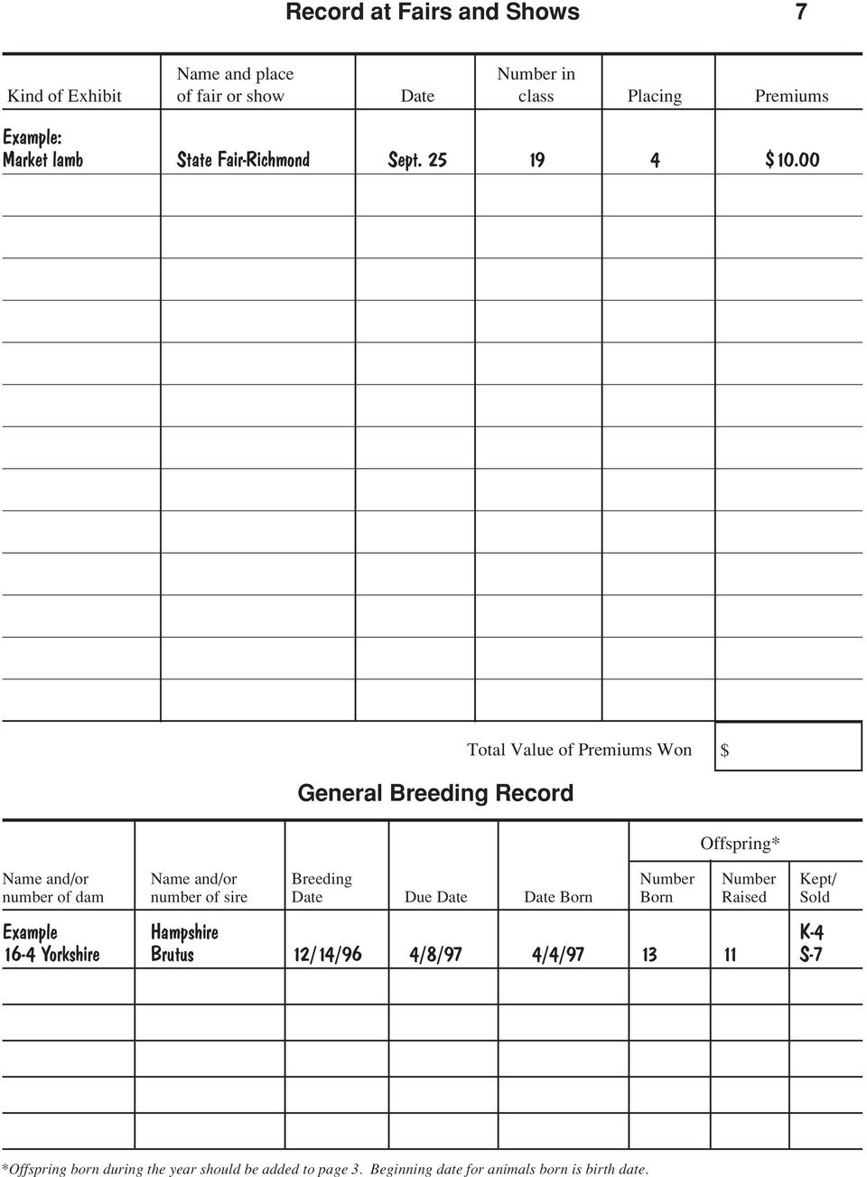00 General Breeding Record Total Value of Premiums Won $ Offspring* Name and/or Name and/or Breeding Number Number Kept/ number of dam