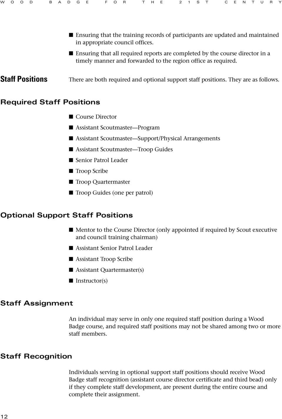 Staff Positions There are both required and optional support staff positions. They are as follows.