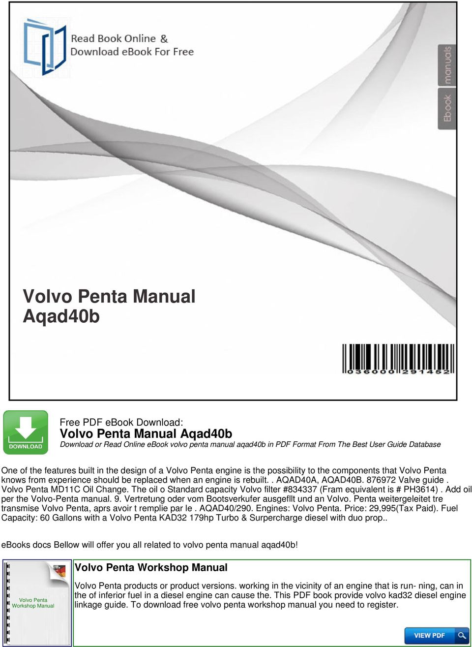 Volvo penta manual aqad40b pdf the oil o standard capacity volvo filter 834337 fram equivalent is ph3614 fandeluxe Image collections