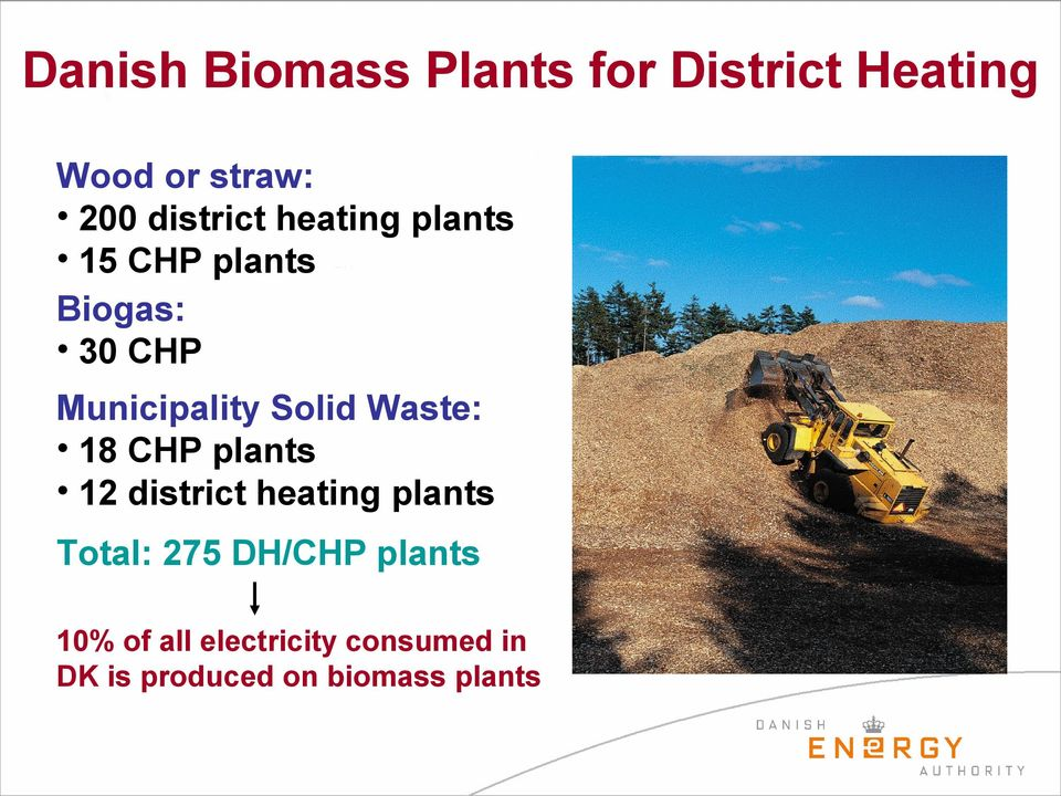 Solid Waste: 18 CHP plants 12 district heating plants Total: 275