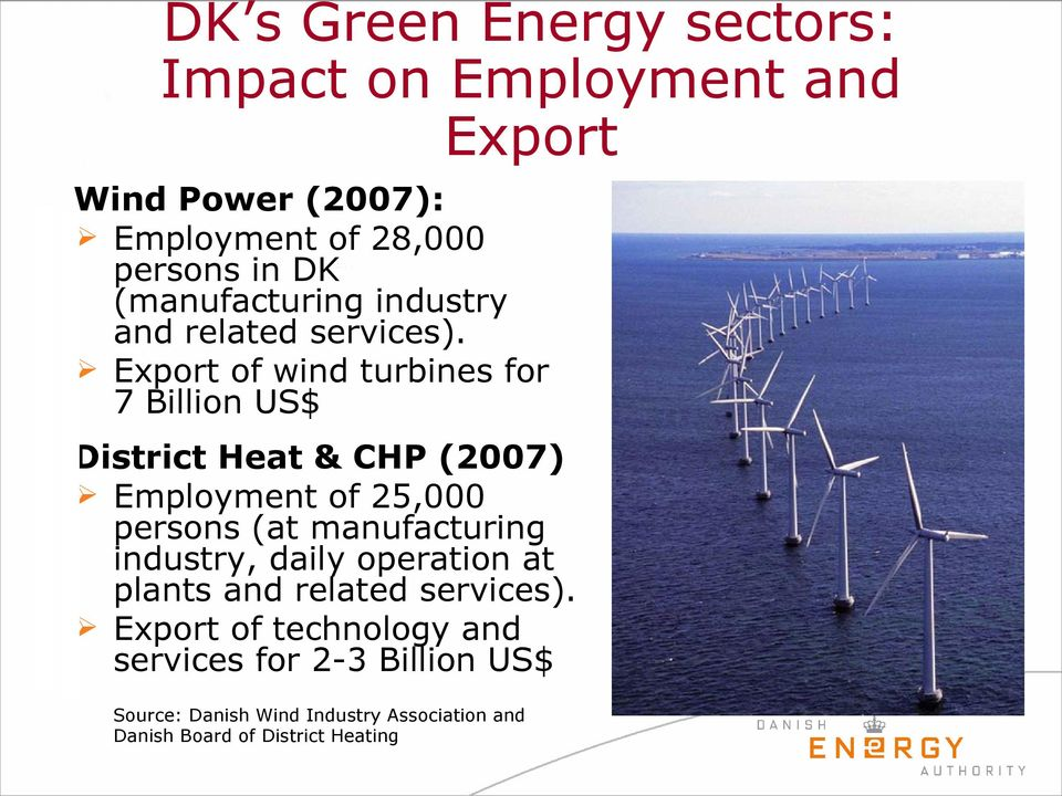 Export of wind turbines for 7 Billion US$ District Heat & CHP (2007) Employment of 25,000 persons (at manufacturing