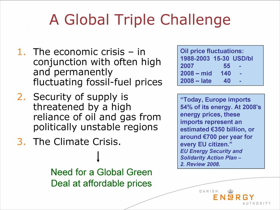 Need for a Global Green Deal at affordable prices Oil price fluctuations: 1988-2003 15-30 USD/bl 2007 55-2008 mid 140-2008 late 40 - Today, Europe