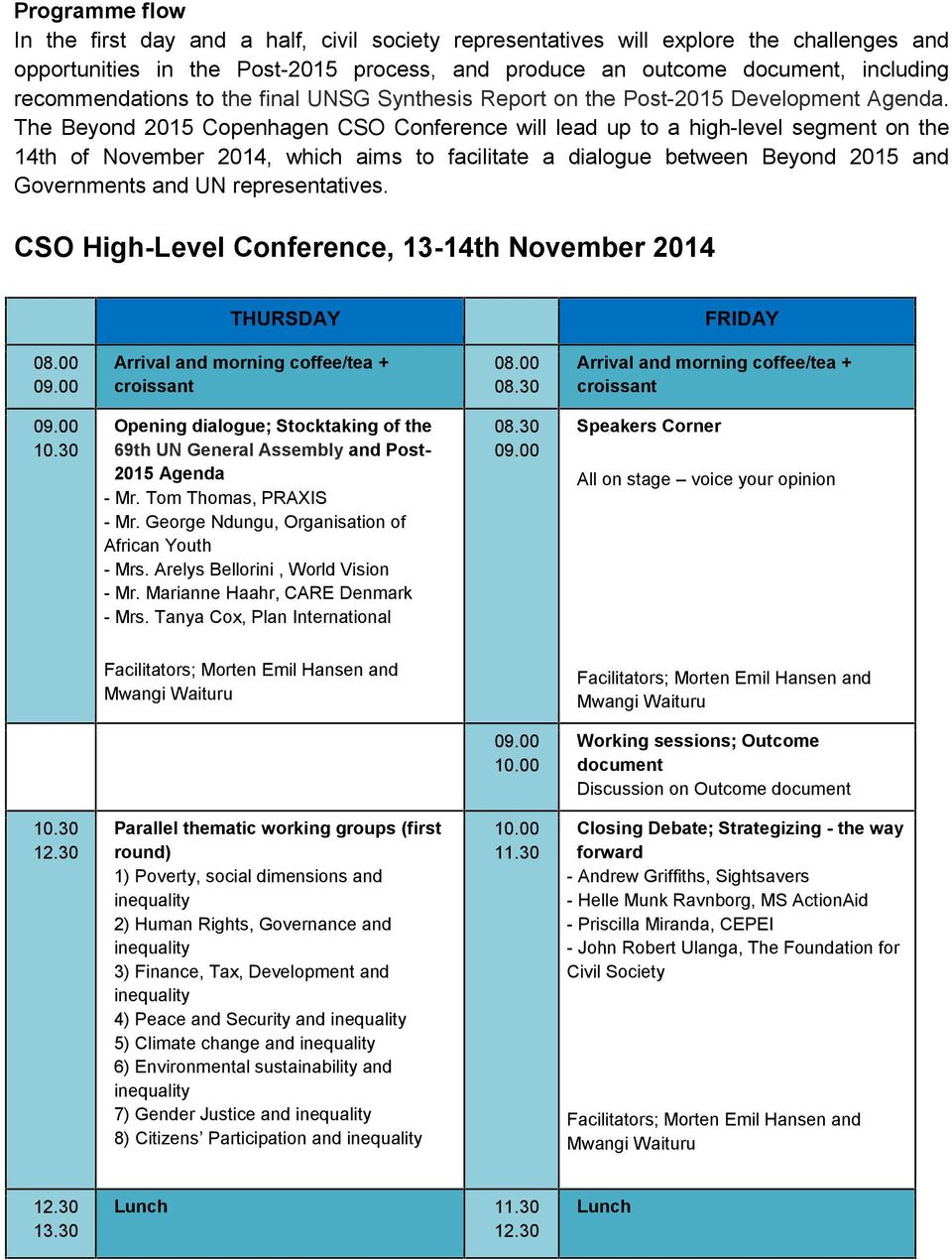 The Beyond 2015 Copenhagen CSO Conference will lead up to a high-level segment on the 14th of November 2014, which aims to facilitate a dialogue between Beyond 2015 and Governments and UN