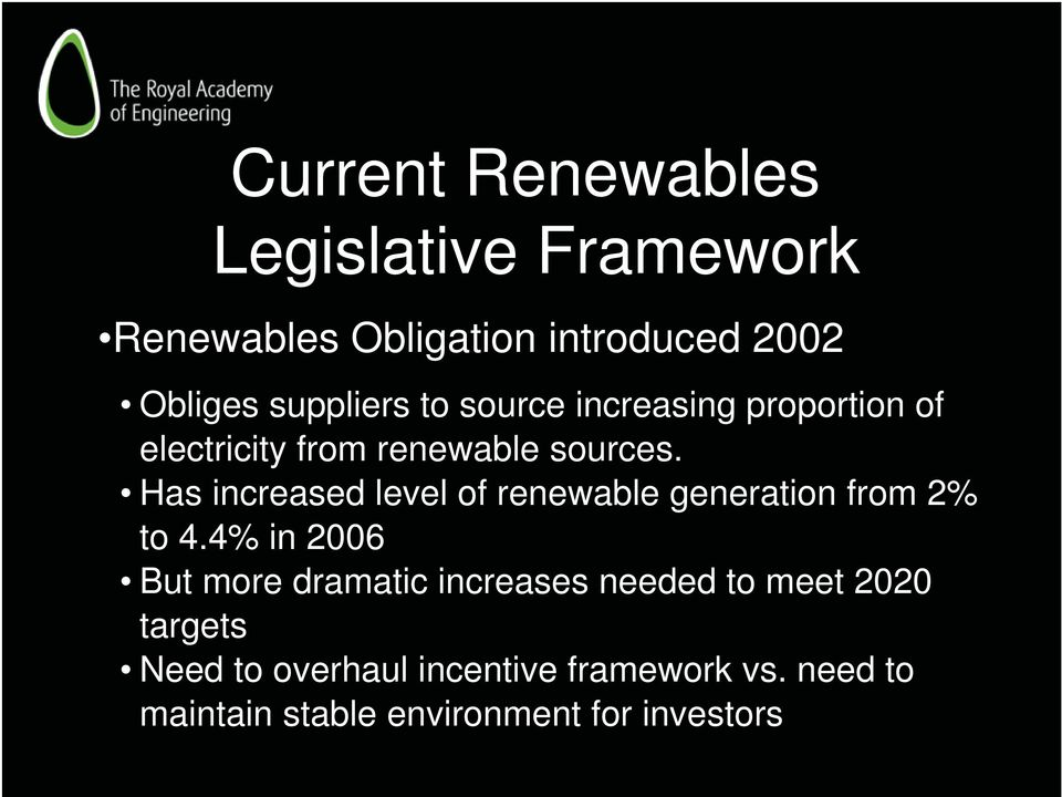 Has increased level of renewable generation from 2% to 4.