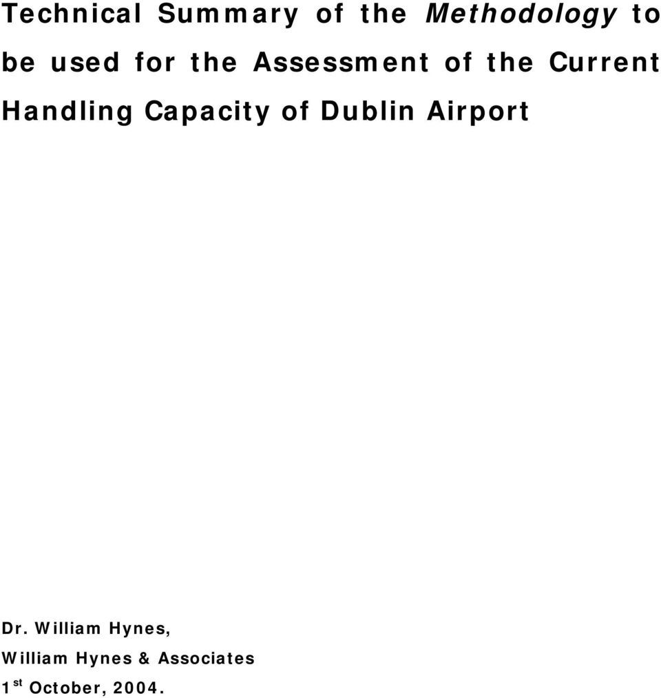 Handling Capacity of Dublin Airport Dr.