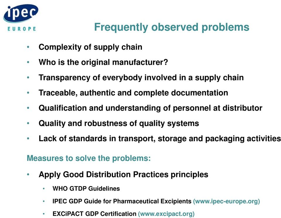 Supply Chain Secrurity and Good Distribution Practice