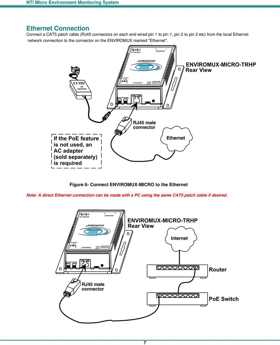 Enviromux Micro Trhp Environment Monitoring System Cat 5 Wiring Diagram Cat5 On Nti The Marked Ethernet