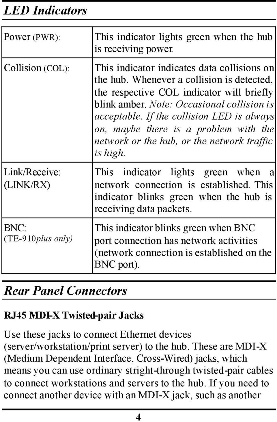 If the collision LED is always on, maybe there is a problem with the network or the hub, or the network traffic is high. This indicator lights green when a network connection is established.
