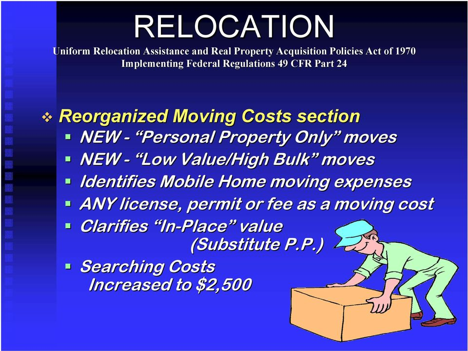 moving expenses ANY license, permit or fee as a moving cost