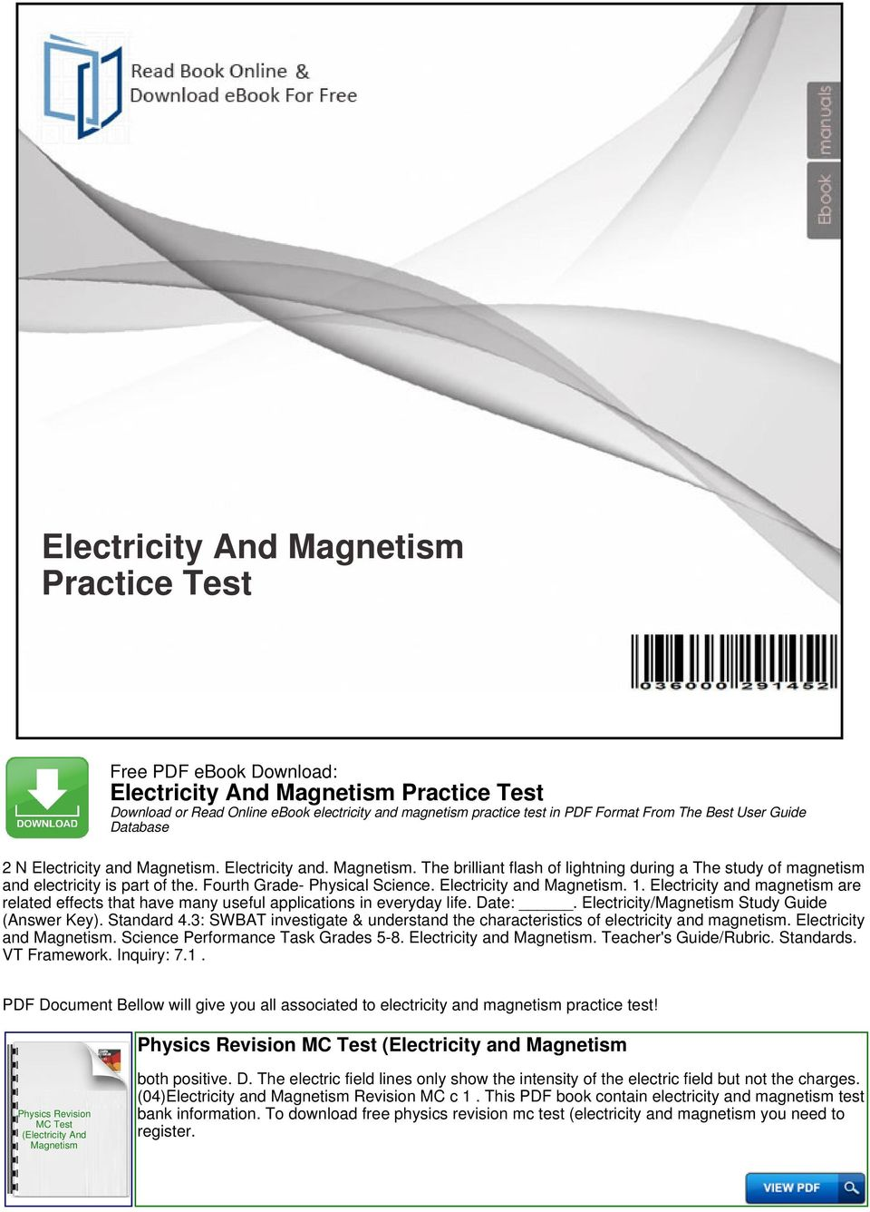 Electricity And Magnetism Practice Test - PDF