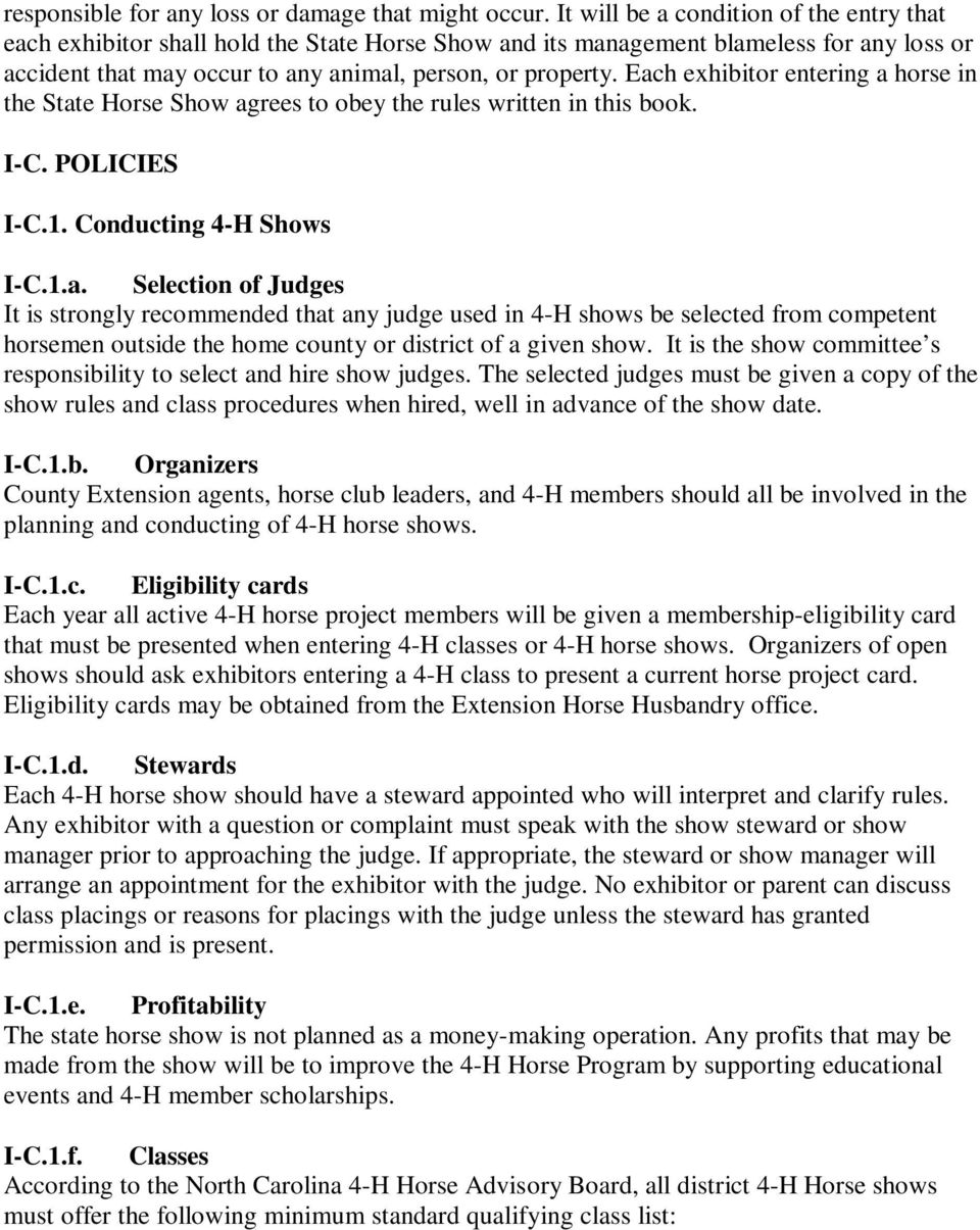 The North Carolina 4-H Horse Program Rules and Regulations