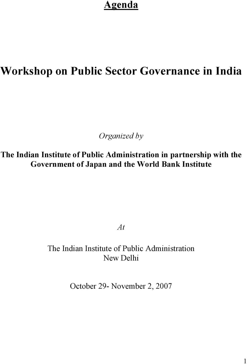 the Government of Japan and the World Bank Institute At The Indian