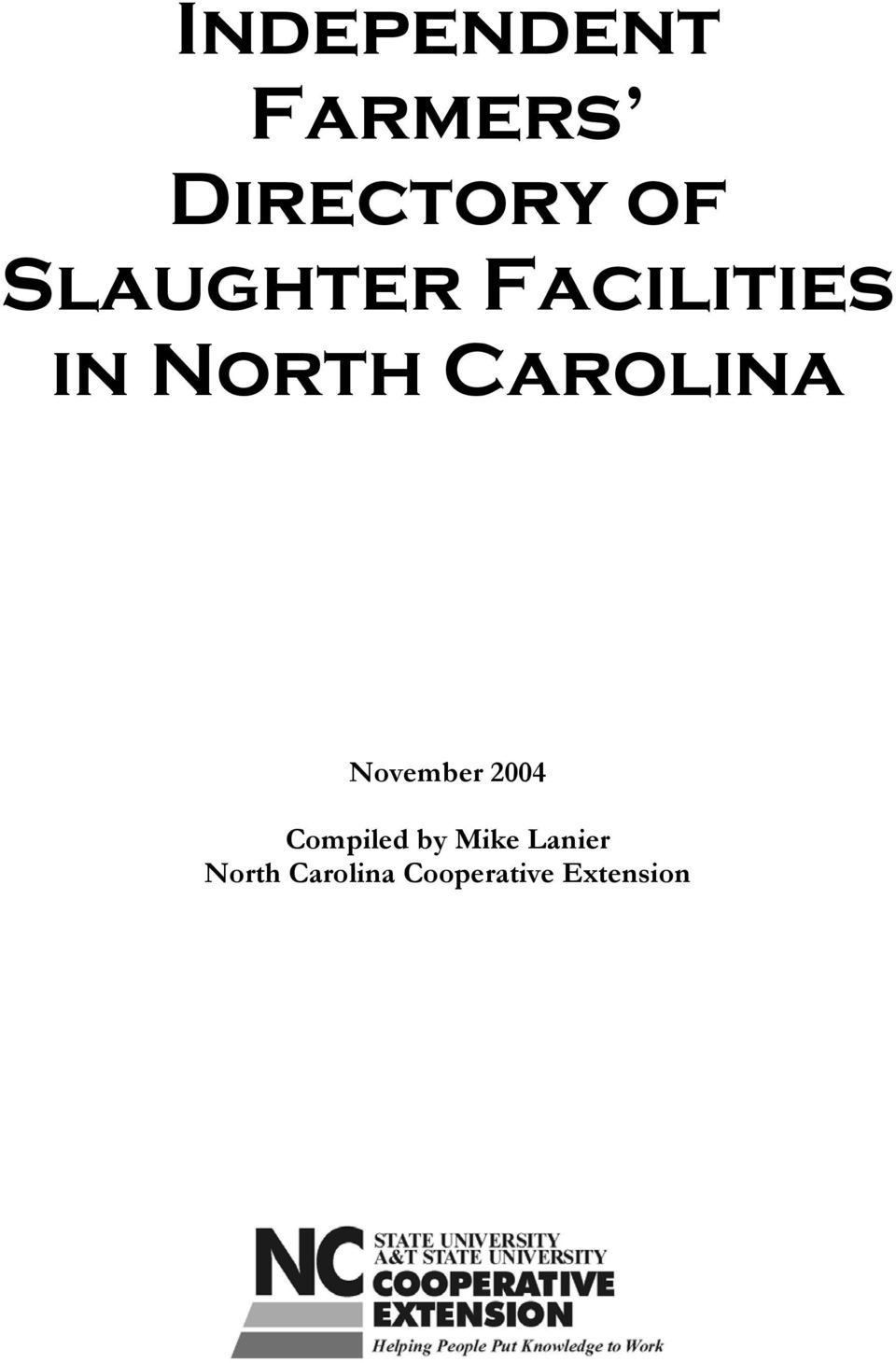 Carolina November 2004 Compiled by