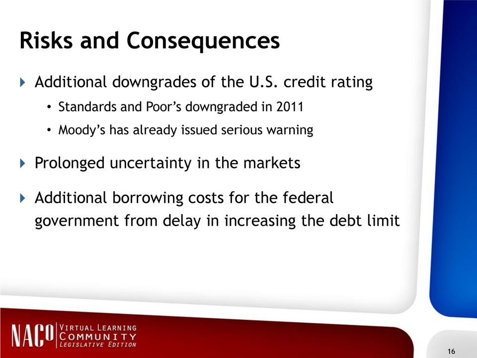 already issued serious warning Prolonged uncertainty in the markets