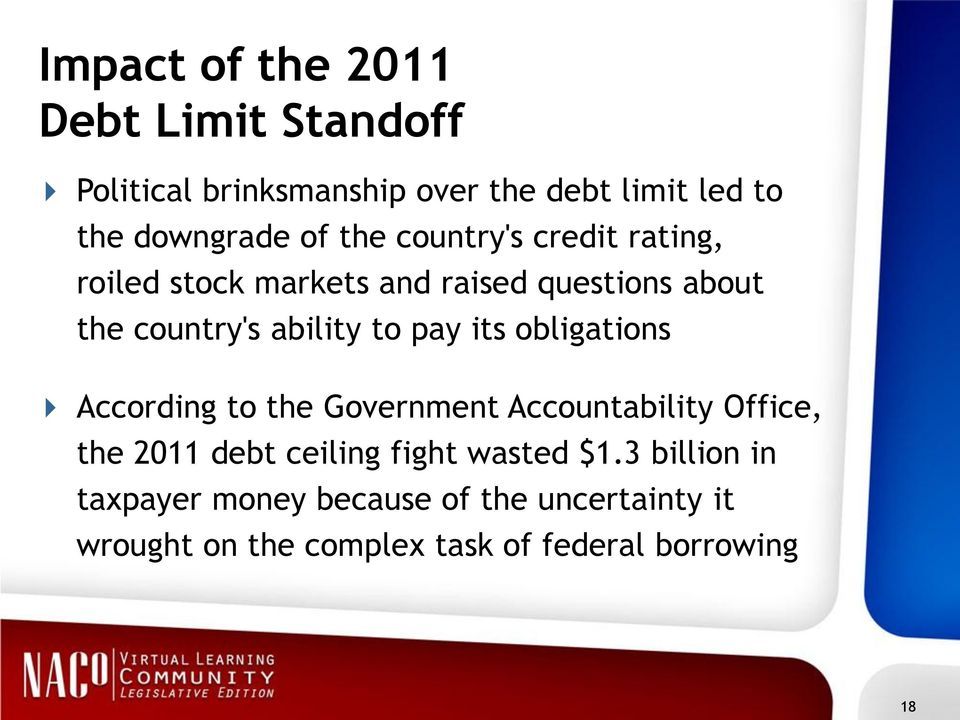 its obligations According to the Government Accountability Office, the 2011 debt ceiling fight wasted $1.