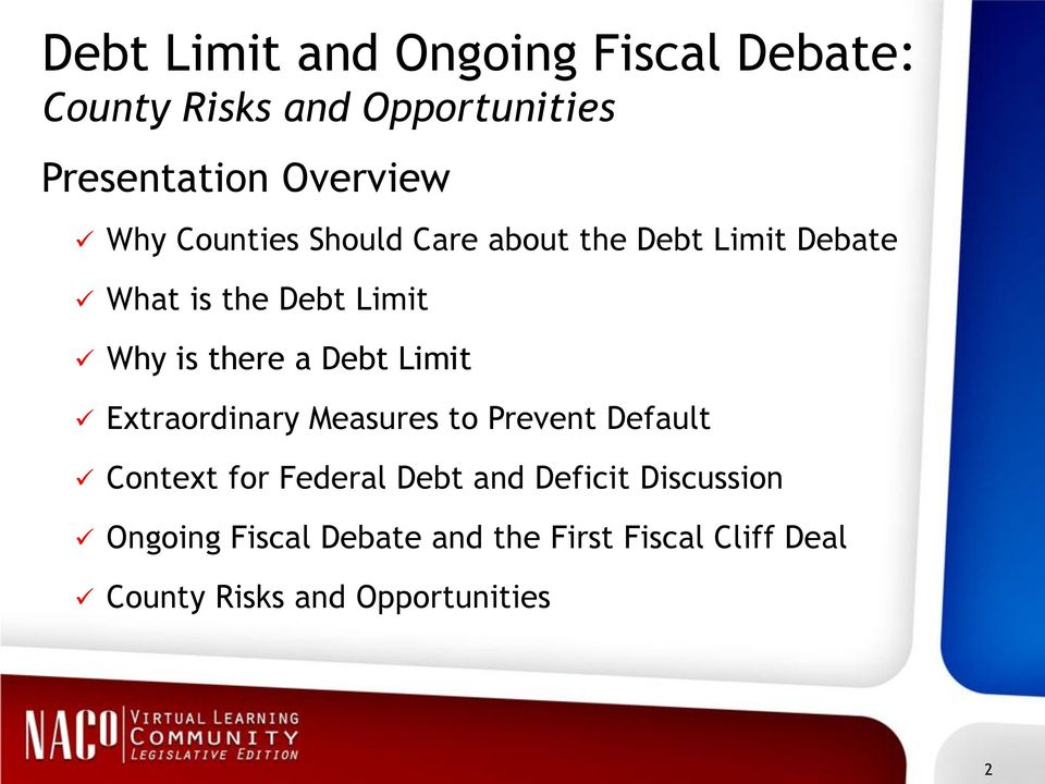 Debt Limit Extraordinary Measures to Prevent Default Context for Federal Debt and Deficit