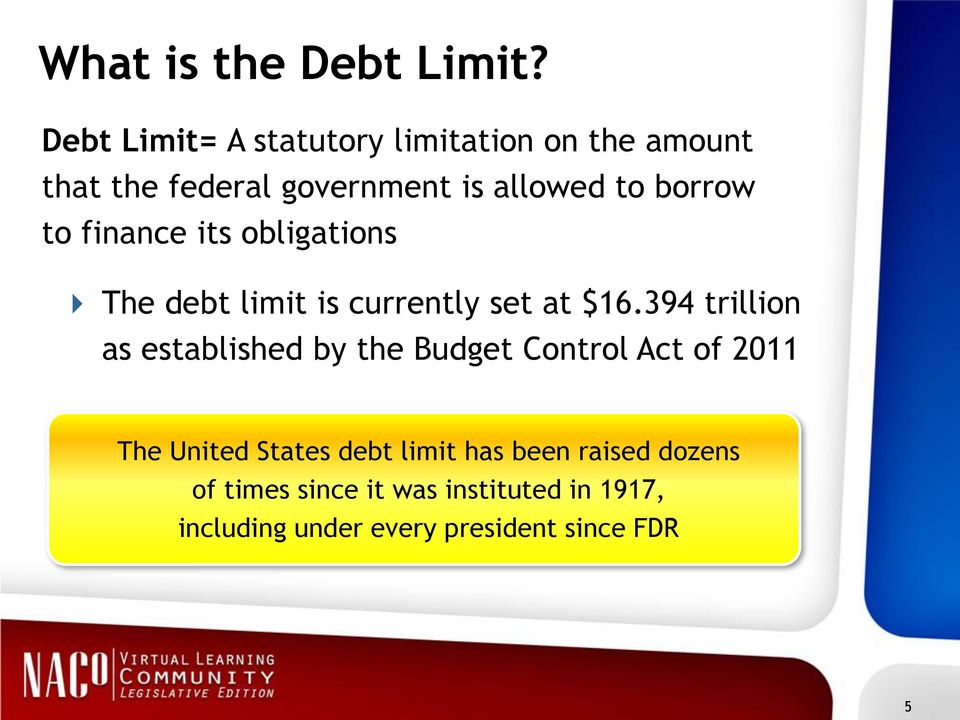 borrow to finance its obligations The debt limit is currently set at $16.