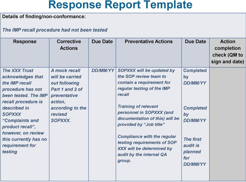 The IMP recall procedure is described in SOPXXX Complaints and product recall, however, on review this currently has no requirement for testing A mock recall will be carried out following Part 1 and