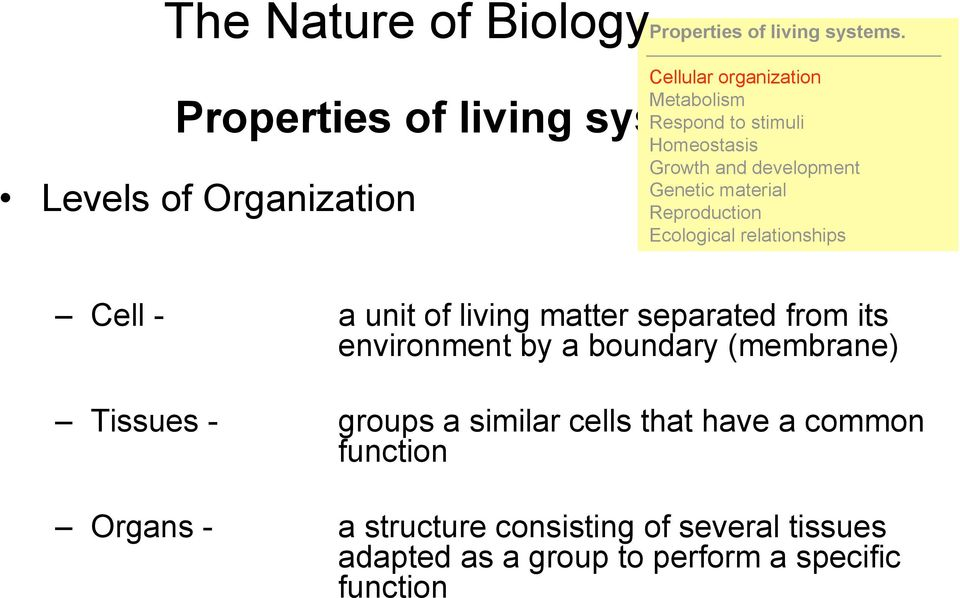 Ecological relationships Cell - a unit of living matter separated from its environment by a boundary (membrane)