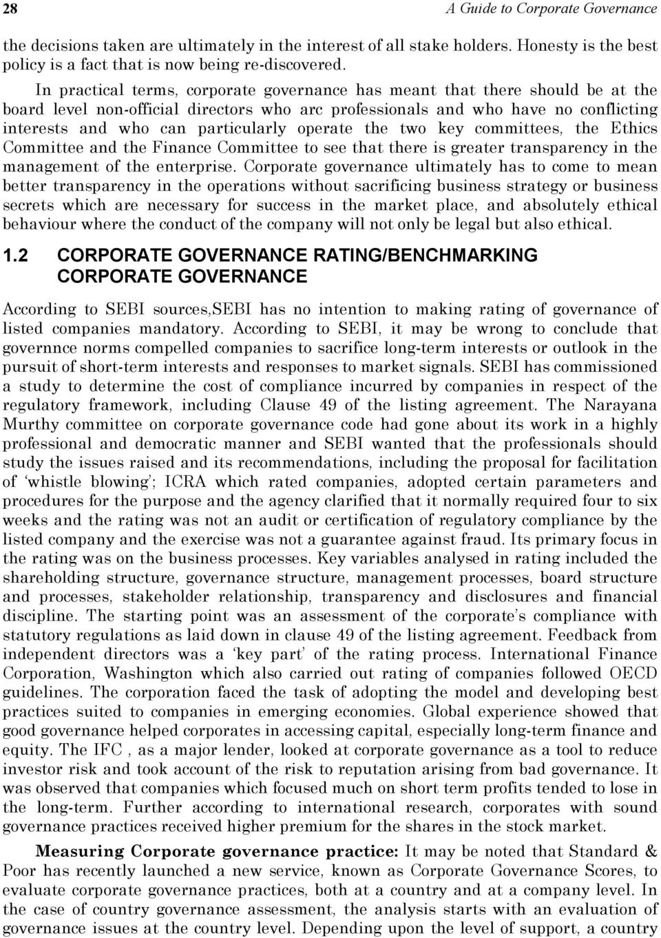 an evaluation of corporate governance practices Non-profit partnership russian institute of directors according to the results of  monitoring of corporate governance practice assigned pjsc idgc of centre and .