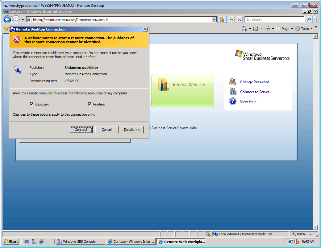 Working with Clients in Windows Small Business Server 2008 38 9.