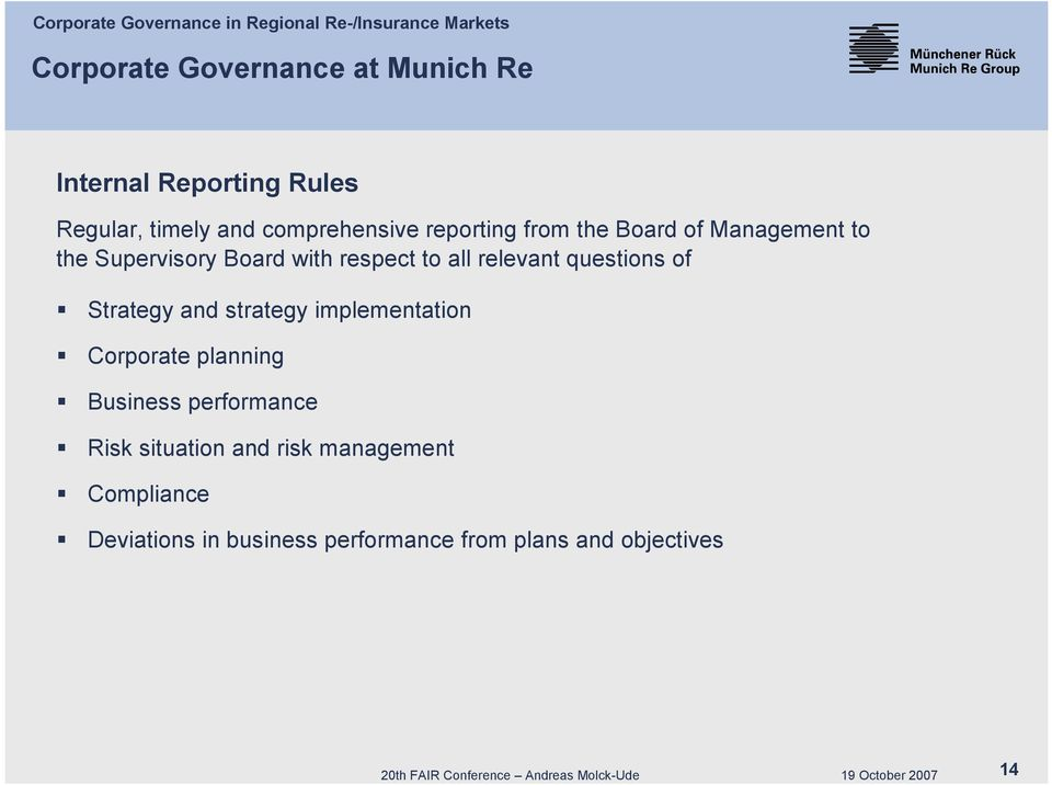 questions of Strategy and strategy implementation Corporate planning Business performance Risk