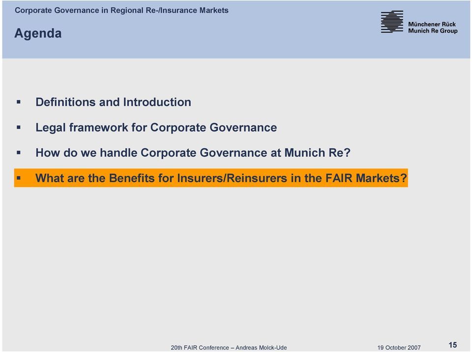 Governance at Munich Re?