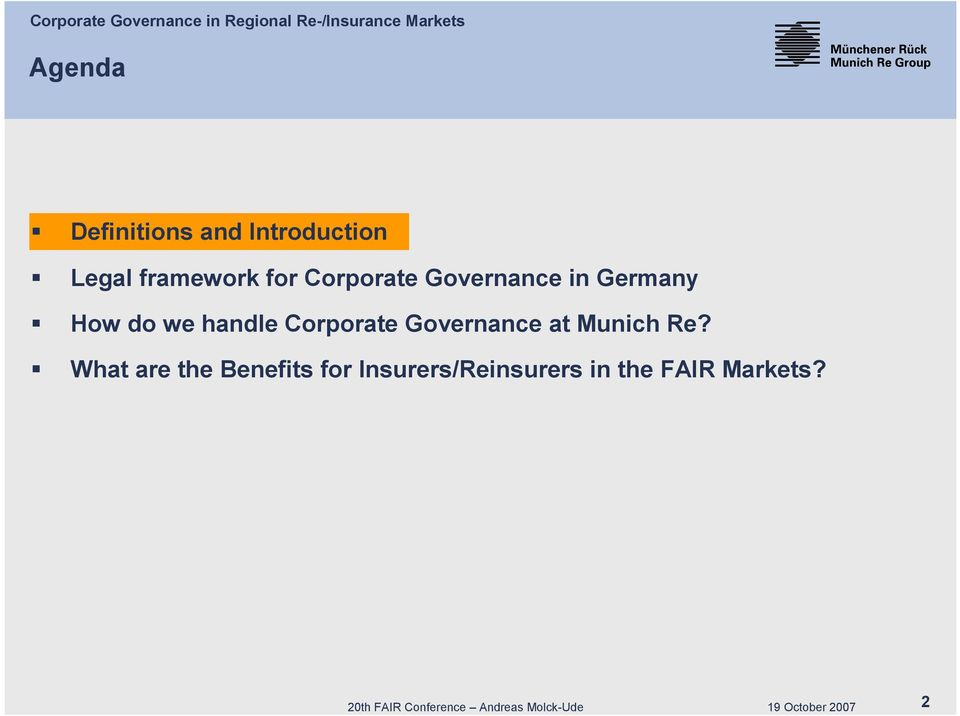 Corporate Governance at Munich Re?