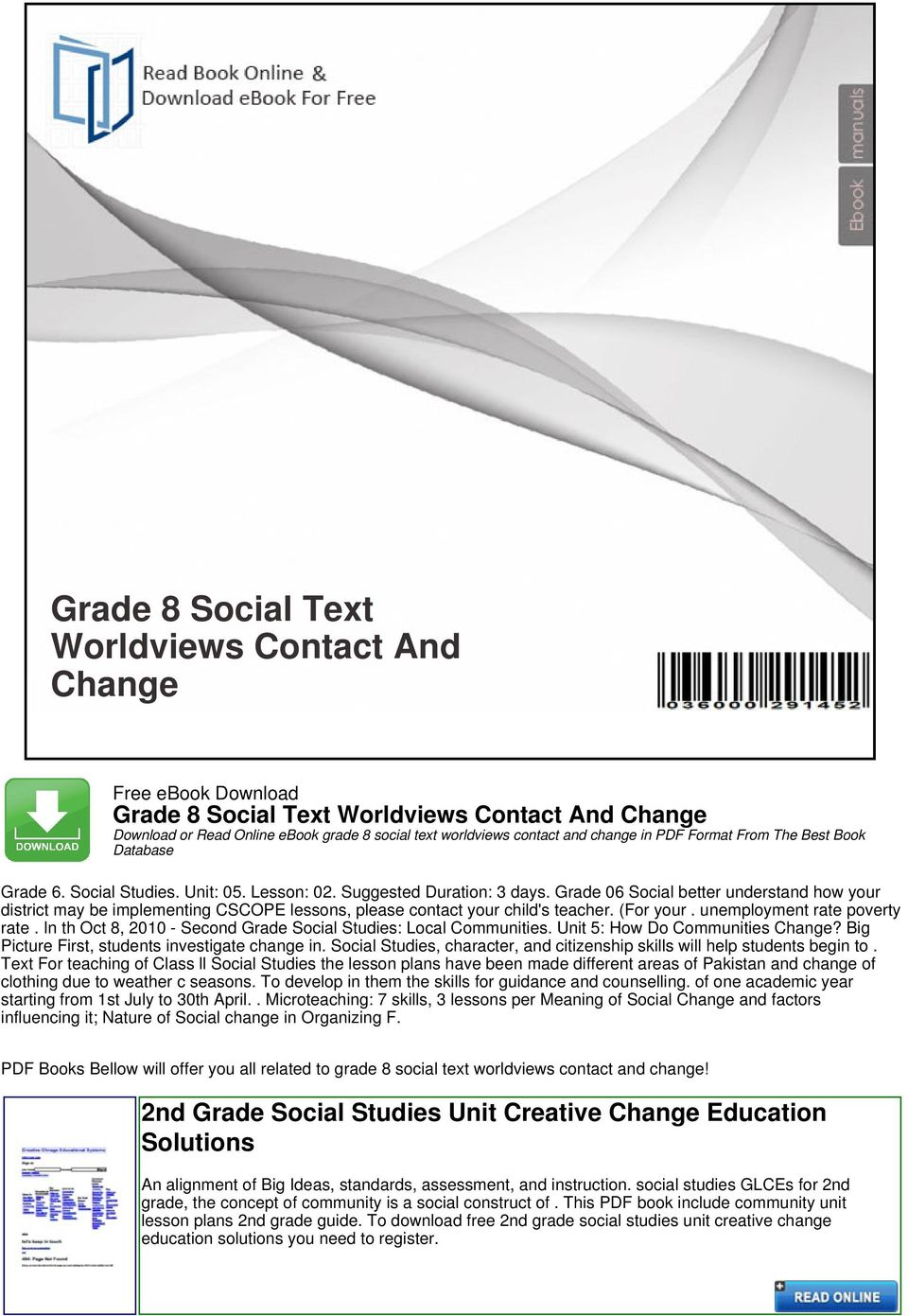 Grade 8 Social Text Worldviews Contact And Change - PDF