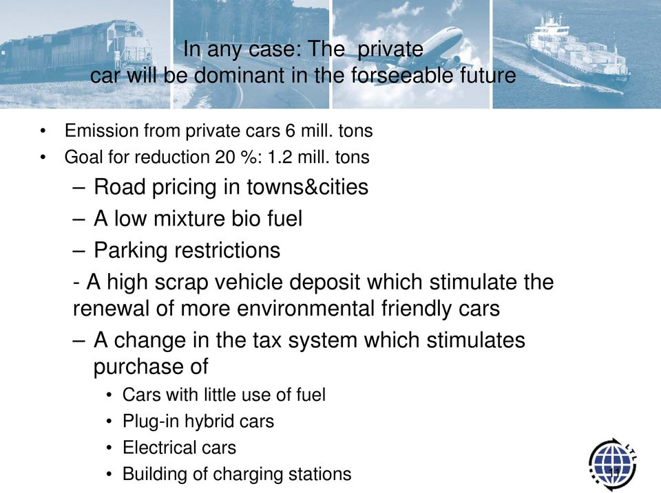 tons Road pricing in towns&cities A low mixture bio fuel Parking restrictions - A high scrap vehicle deposit which
