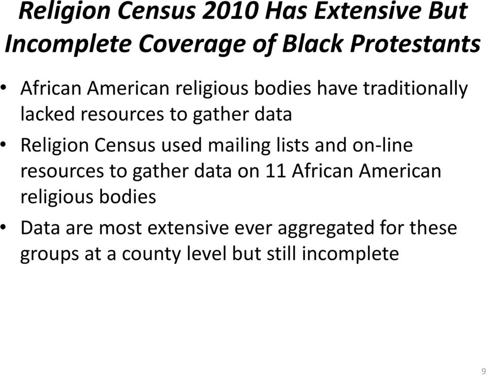 used mailing lists and on-line resources to gather data on 11 African American religious