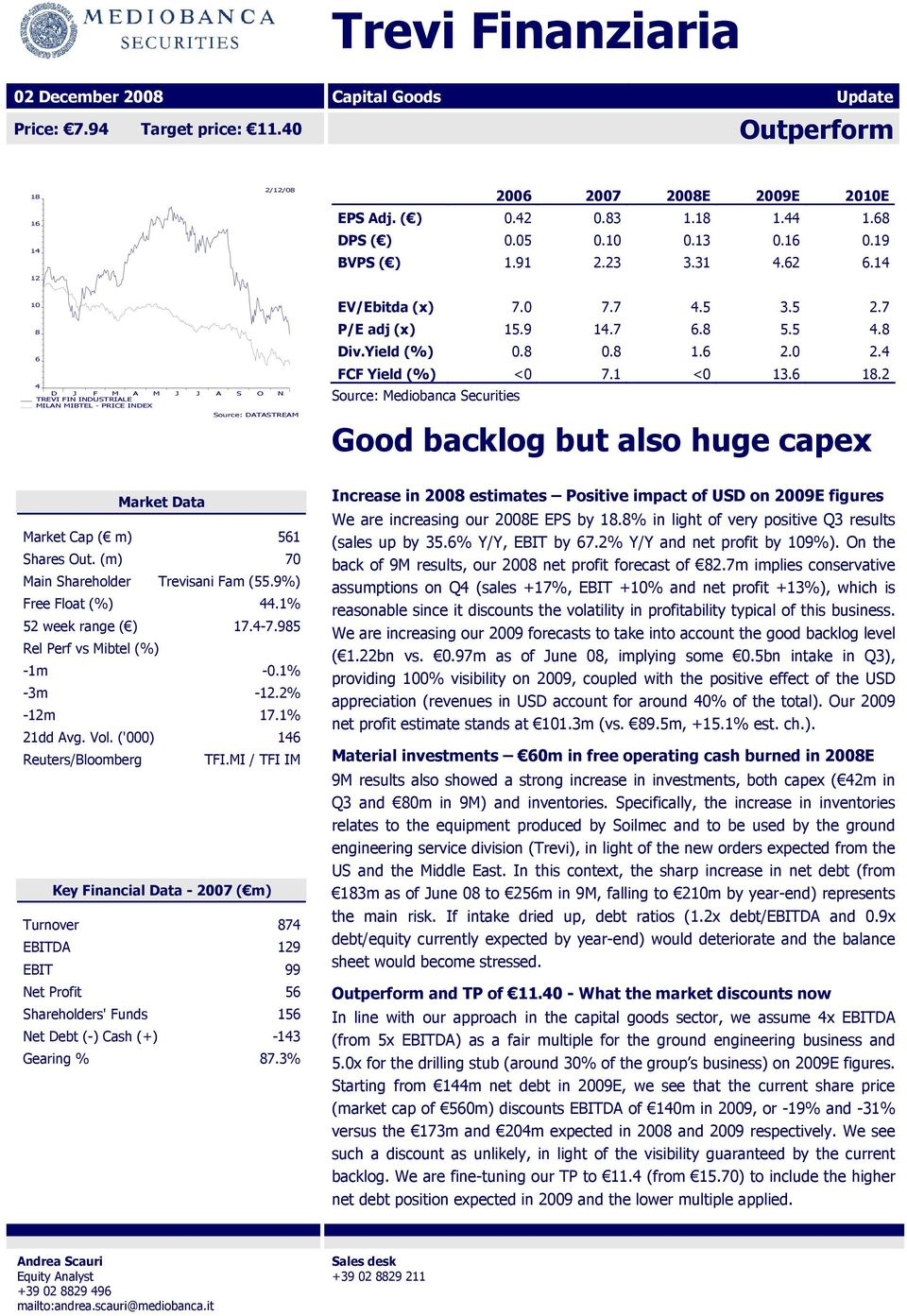 5 4.8 Div.Yield (%) 0.8 0.8 1.6 2.0 2.4 FCF Yield (%) <0 7.1 <0 13.6 18.2 Source: Mediobanca Securities Good backlog but also huge capex Market Data Market Cap ( m) 561 Shares Out.