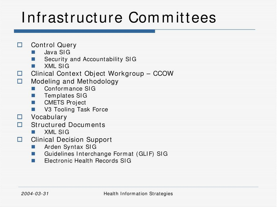 SIG CMETS Project V3 Tooling Task Force Vocabulary Structured Documents XML SIG Clinical