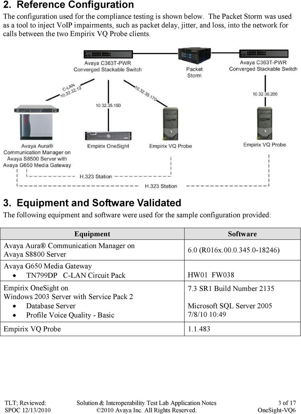 Equipment and Software Validated The following equipment and software were used for the sample configuration provided: Equipment Avaya Aura Communication Manager on Avaya S8800 Server
