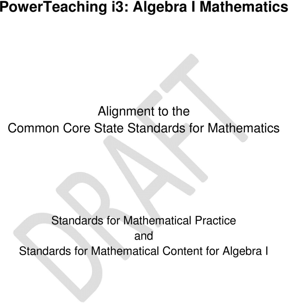 for Mathematics Standards for Mathematical