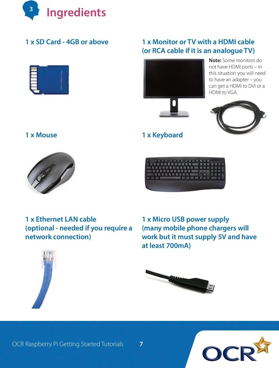 1 x Mouse 1 x Keyboard 1 x Ethernet LAN cable (optional - needed if you require a network connection) 1 x Micro USB power