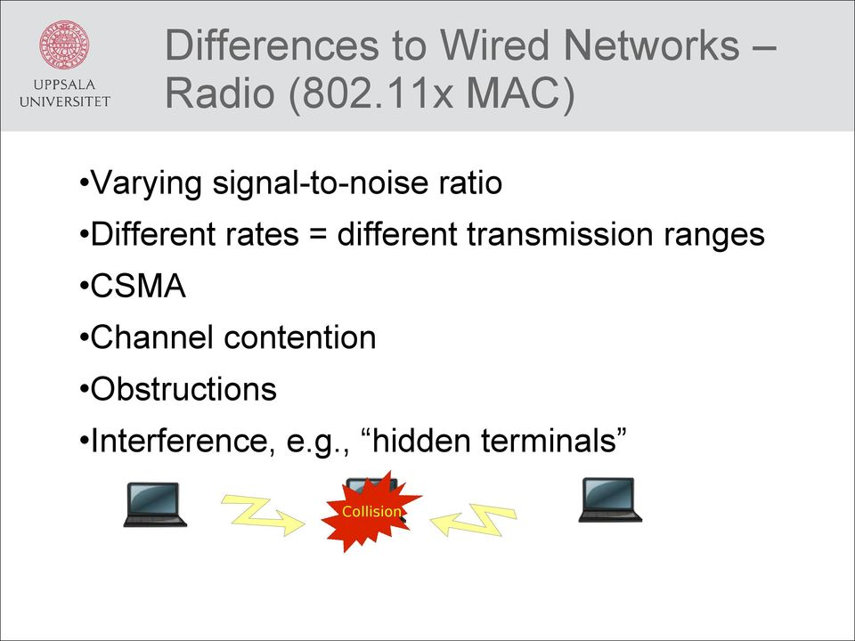 rates = different transmission ranges CSMA Channel