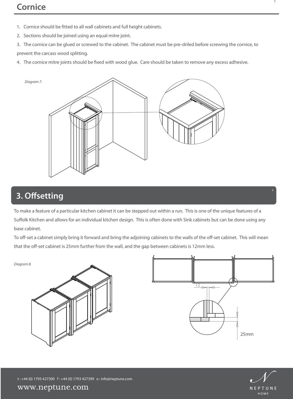 Care should be taken to remove any excess adhesive. Diagram 7. 3. Offsetting 5 To make a feature of a particular kitchen cabinet it can be stepped out within a run.