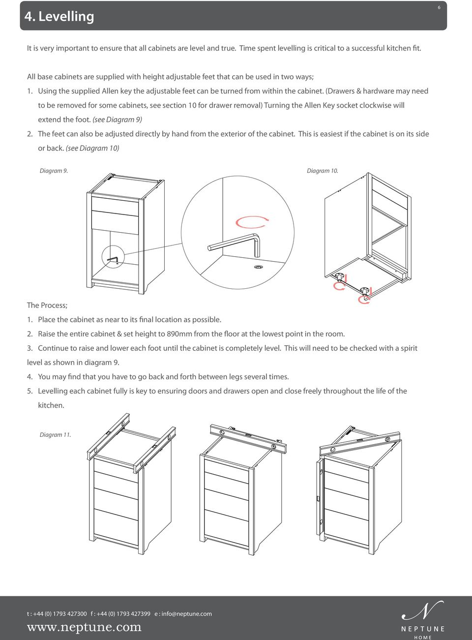 (Drawers & hardware may need to be removed for some cabinets, see section 10 for drawer removal) Turning the Allen Key socket clockwise will extend the foot. (see Diagram 9) 2.