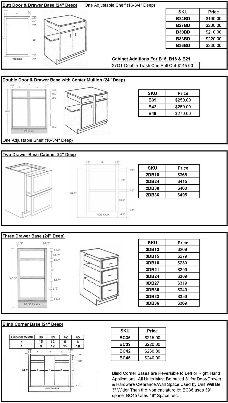 "00 One Adjustable Shelf (16-3/4"" Deep) Two Drawer Base Cabinet 24"" Deep 2DB18 $365 2DB24 $415 2DB30 $460 2DB36 $495 Three Drawer Base (24"" Deep) 3DB12 $269 3DB15 $279 3DB18 $289 3DB21 $299 3DB24 $309"