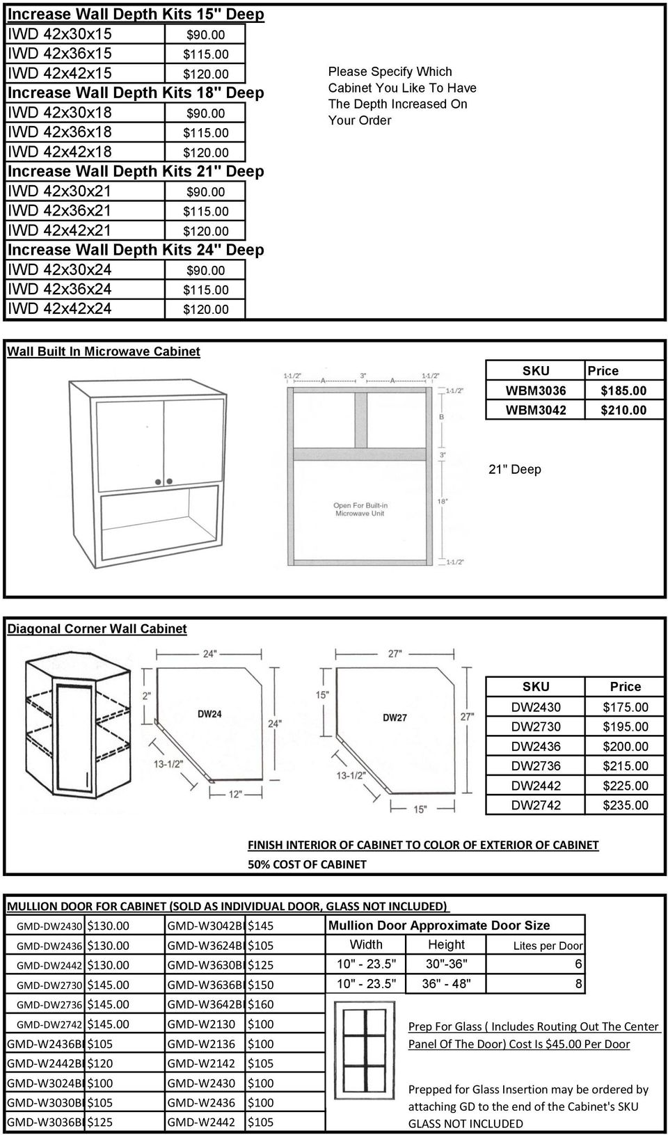 "00 Please Specify Which Cabinet You Like To Have The Depth Increased On Your Order Wall Built In Microwave Cabinet WBM3036 $185.00 WBM3042 $210.00 21"" Deep Diagonal Corner Wall Cabinet DW2430 $175."
