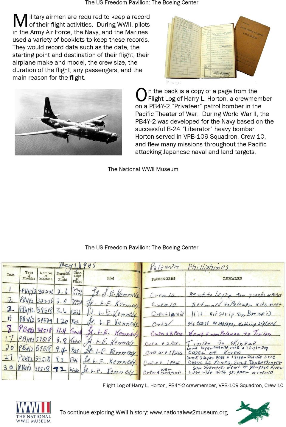 reason for the flight. n the back is a copy of a page from the O Flight Log of Harry L. Horton, a crewmember on a PB4Y-2 Privateer patrol bomber in the Pacific Theater of War.