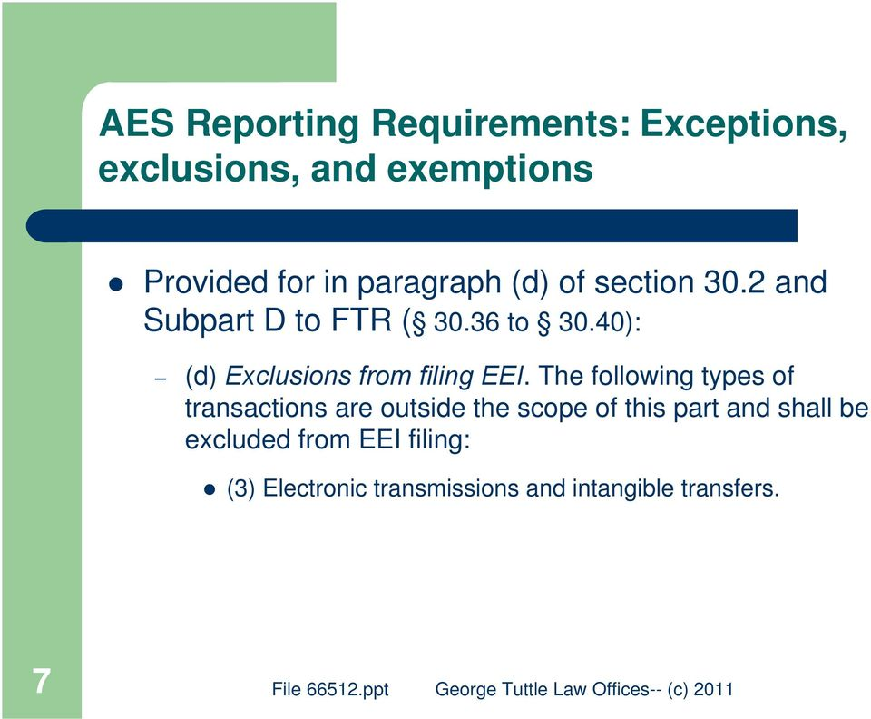 40): (d) Exclusions from filing EEI.