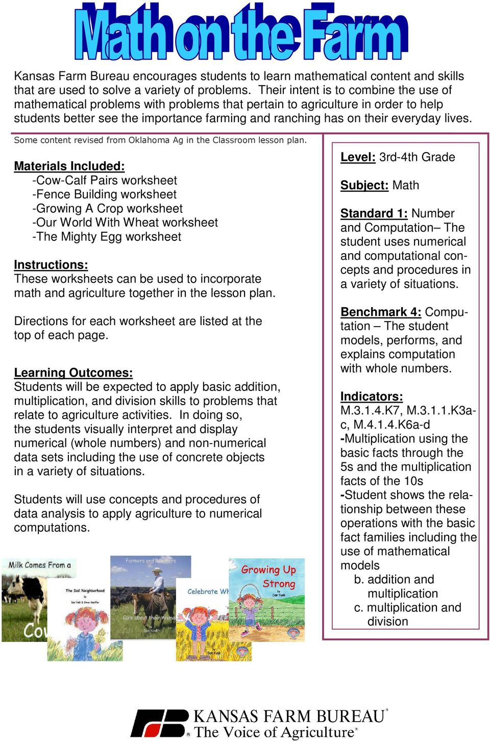 lives. Some content revised from Oklahoma Ag in the Classroom lesson plan.