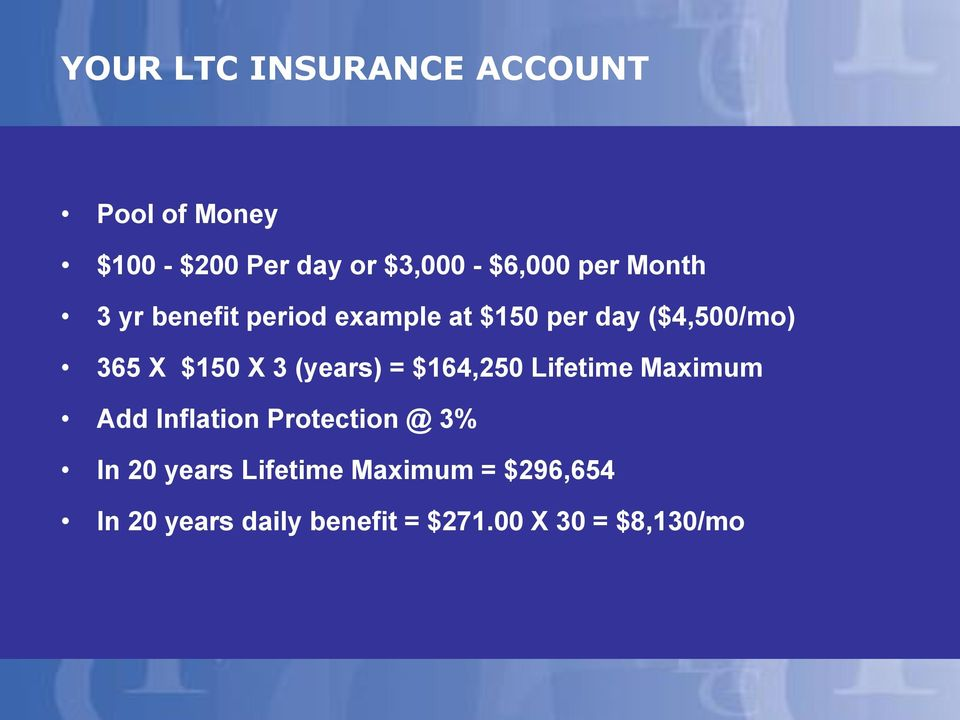 3 (years) = $164,250 Lifetime Maximum Add Inflation Protection @ 3% In 20 years